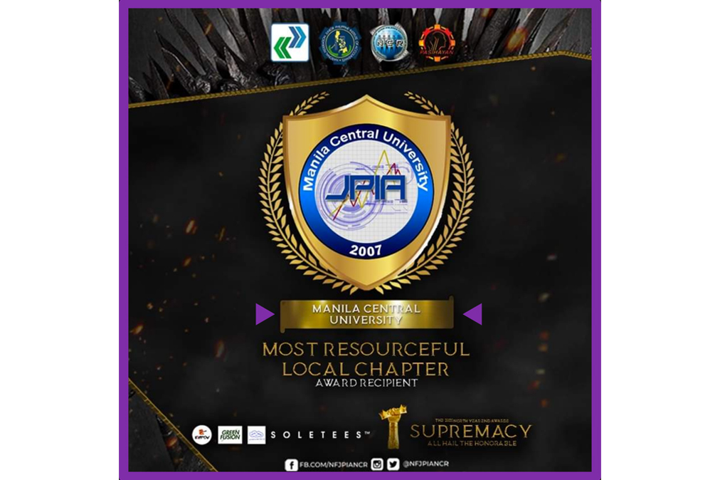 JPIA-MCU Chapter awarded as the Most Resourceful local organization in the NCR-North District